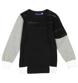 EURO CLUB COLLECTIONS CREW NECK SWEATER WITH WAVY FABRIC BLACK