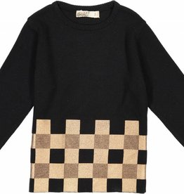 Nove Crew Neck with Plaid Metallic Print Black