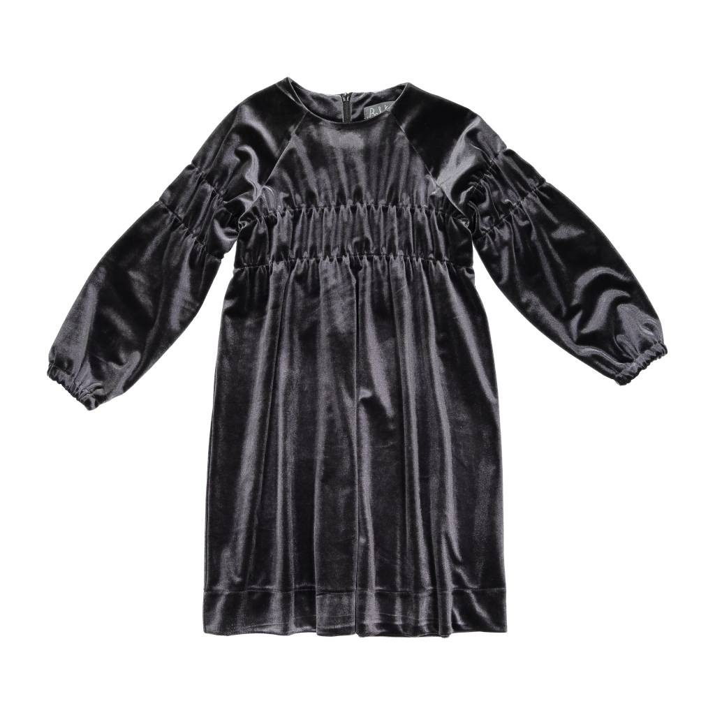 Belati Velour Dress with Elasticated High Waist and Sleeves Charcoal