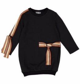 Belati Sweatshirt Dress with Lurex Ribbon Accenting Black
