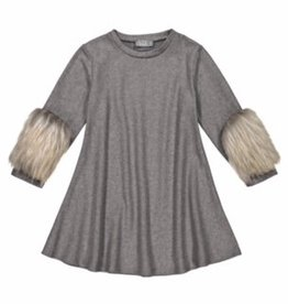 Belati Hairy Jersey Dress with Furry Sleeves Grey