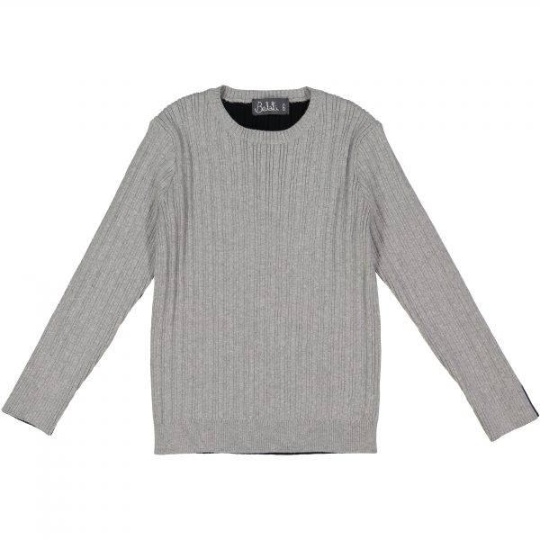 Belati Two Tone Ribbed Sweater Light Grey