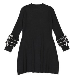 Belati Two Tone Knitted Dress with Ruffled Sleeves Beige