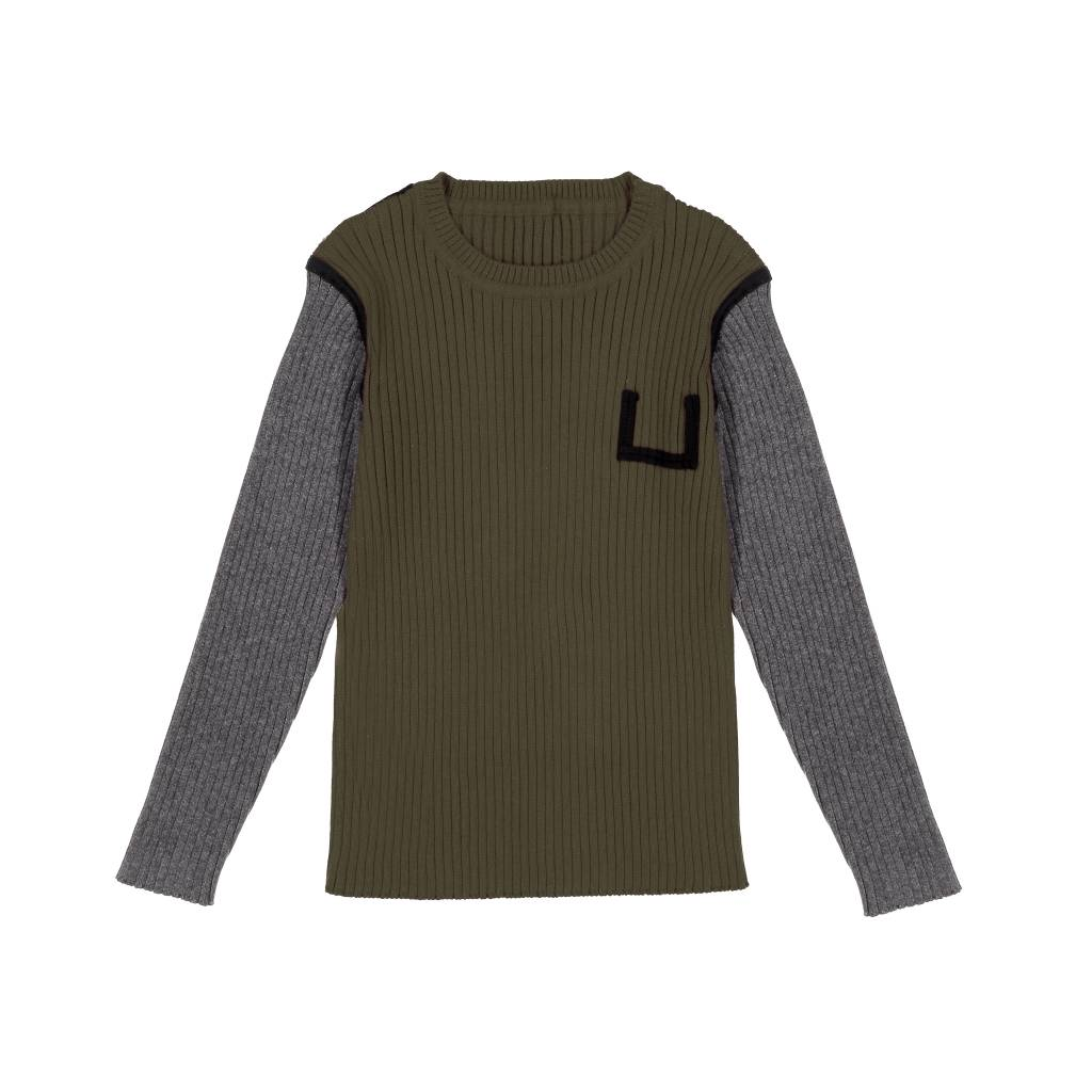 Belati Two Tone Ribbed Sweater with Black Accent Olive