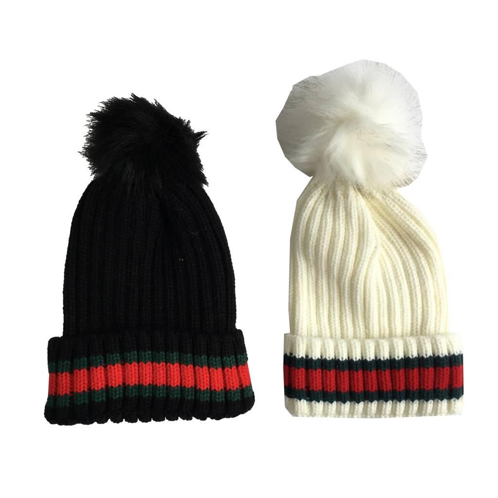 7ca991e980cf Striped Knit Pom Pom Hat - Precious Cargo
