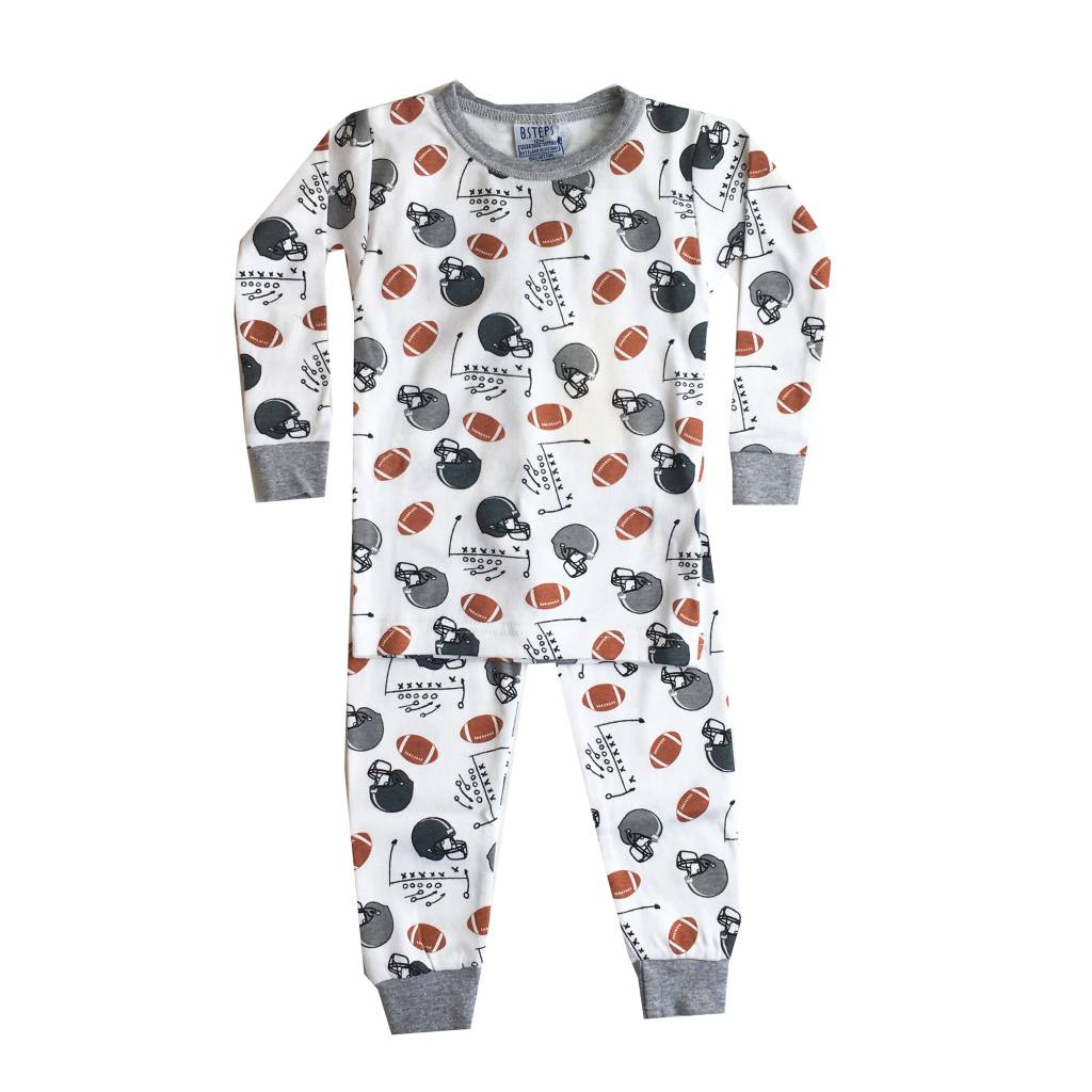 Baby Steps White Football Helmets 2pc Pajama Set