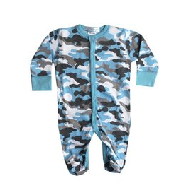 Baby Steps Light Blue Camo Footie