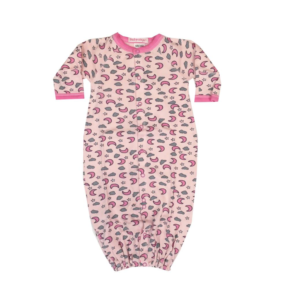 Baby Steps Pink Moons Convertible Gown NB