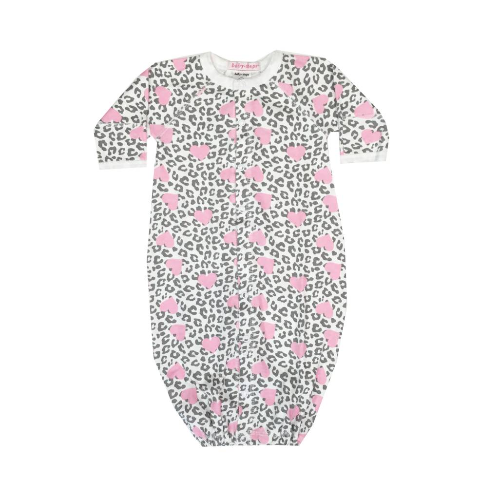 Baby Steps Leopard Hearts Convertible Gown NB