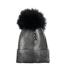 Maniere Silver Metallic Pom Pom Hat