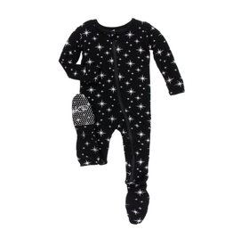 Kickee Pants Silver Bright Stars Zipper Footie
