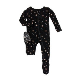 Kickee Pants Rose Gold Bright Stars Zipper Footie