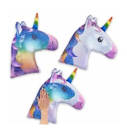 Reversible Sequin Rainbow Unicorn Pillow