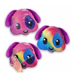 Reversible Sequin Rainbow Puppy Pillow