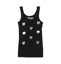 T2Love Silver Hearts Tank Black