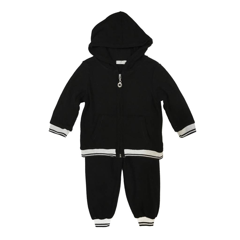 Cozii Stripe Cuff Zip Hoodie and Jogger Set