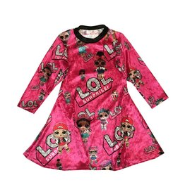 LOL Doll Crushed Velvet Long Sleeve Dress