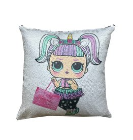 Unicorn LOL Doll Reversible Sequin Pillow