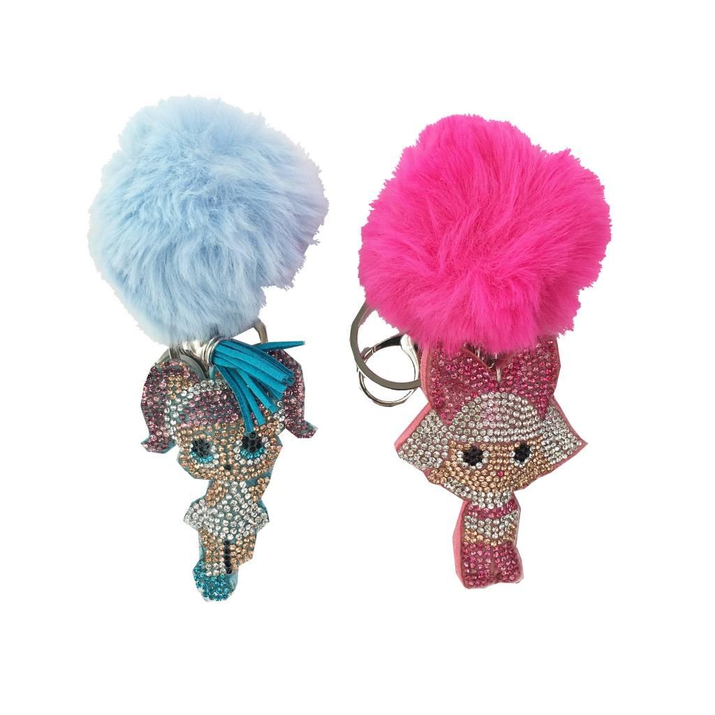 LOL Doll Rhinestone Pom Pom Keychains
