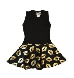 Dori Creations Gold Lips Tank Dress