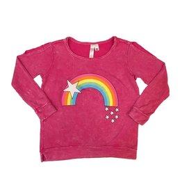 Malibu Sugar Rainbow w/ Stars Cold Shoulder Sweatshirt