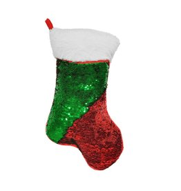 Red/Green Reverse Sequin Stocking Storage Pillow