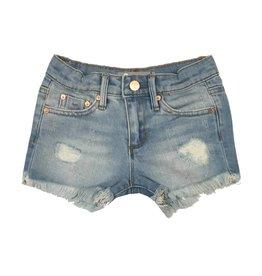 Tractr Light Indigo Frayed Cut Off Shorts