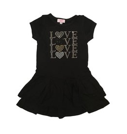 Sofi Black Love Love Love Short Sleeve Dress