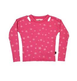 T2love Slit Shoulder Star Cropped Pullover