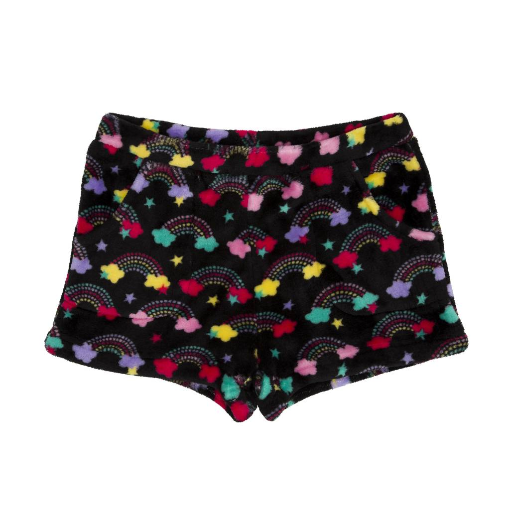 Candy Pink Spotty Rainbow Plush Shorts