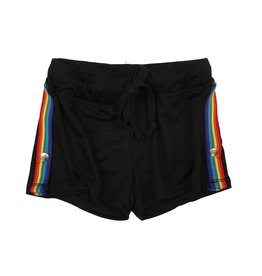 T2love Rainbow Side Stripe Snap Shorts