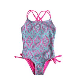 Coral Reef Turq/Pink Lace One Piece Swimsuit