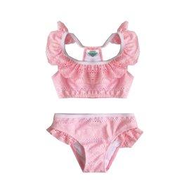 Coral Reef Lt. Pink/Wht Ruffle Lace Infant Bikini