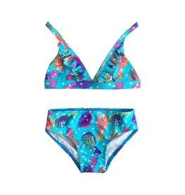 Coral Reef Rainbow Pineapple Ruffle Bikini