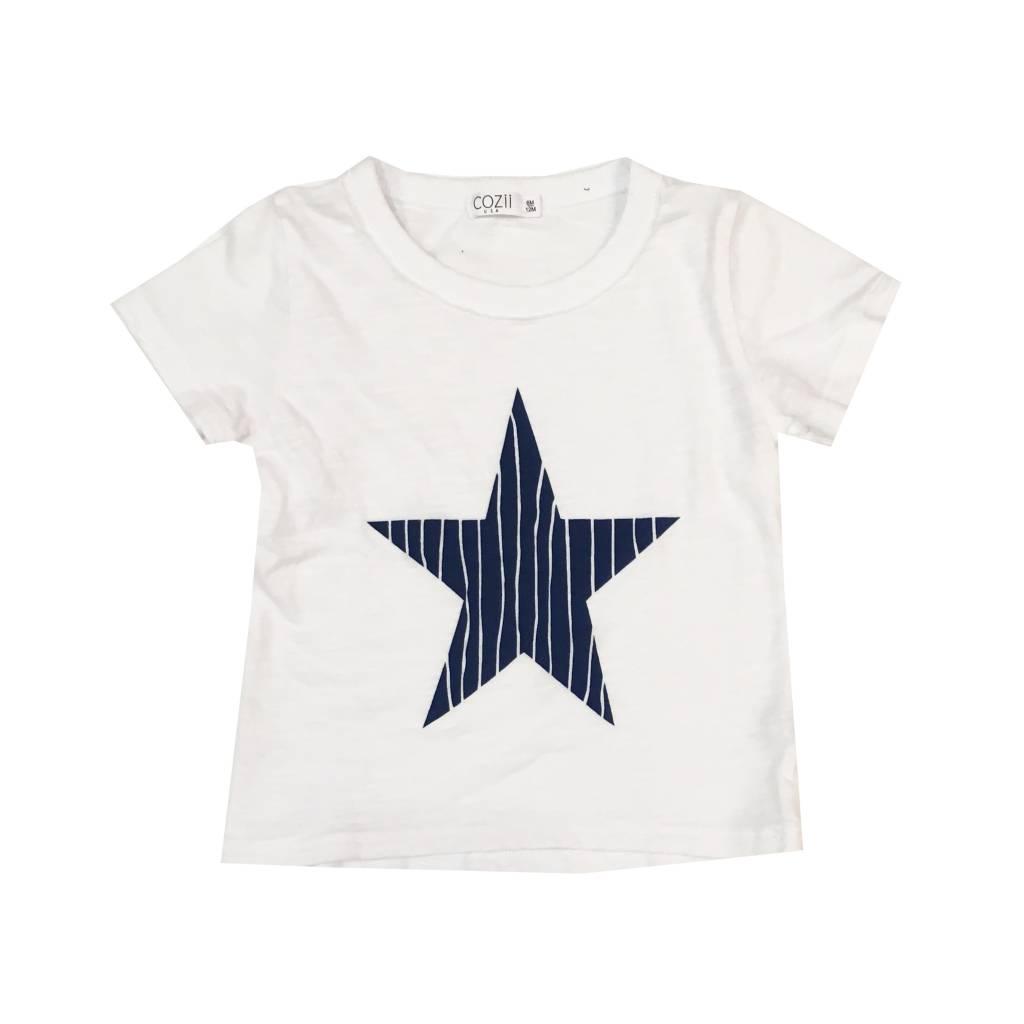Cozii Navy Pinstripe Star Tee