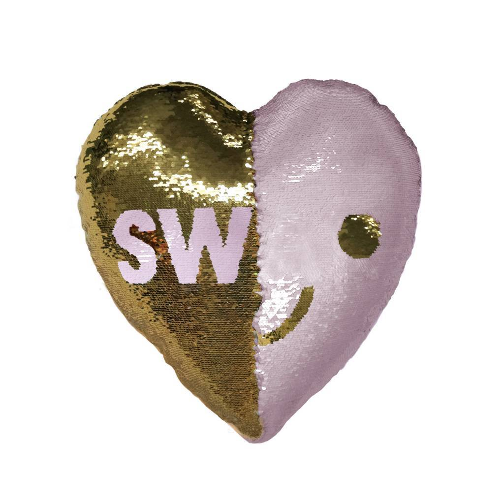 SWAK Heart Reversible Sequin Pillow