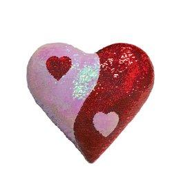 Reverse Sequin Heart Ying Yang Pillow