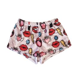 Penelope Wildberry Lipstick Kisses Plush Lounge Shorts