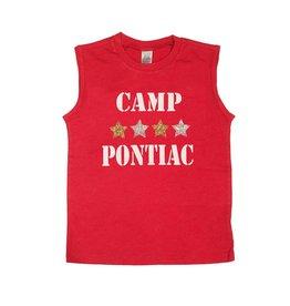 Red Stencil Stars Glitter Camp Tank