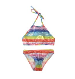 Cruz Sparkly Rainbow Stripe High Neck Bikini