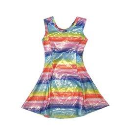 Social Butterfly Sparkly Rainbow Stripe Dress