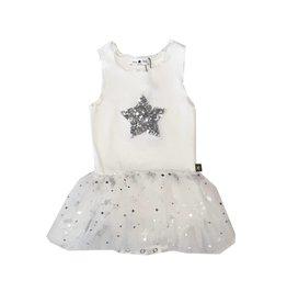Petite Hailey White Sequin Star Tutu Dress