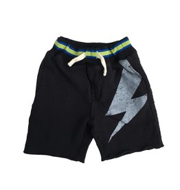 Bit'z Kids Black Lightining Bolt Sweat Short