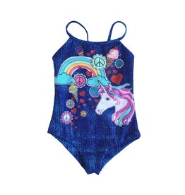 Limeapple Denim Print Unicorn One Piece Swimsuit
