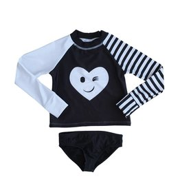 Limeapple Rhinestone Heart Rashguard & Bottom Set