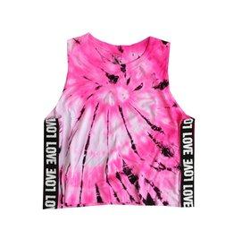 Malibu Sugar Love Trim Pink Tie Dye Tank 7-14