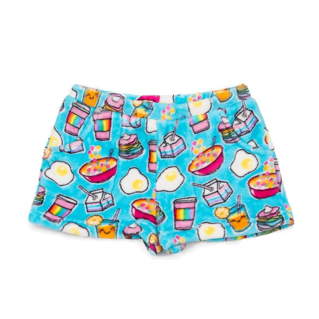 Candy Pink Rainbow Breakfast Plush Shorts