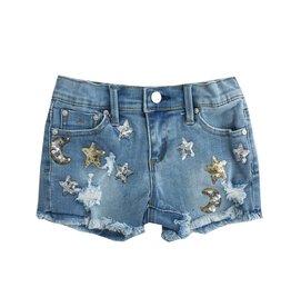 Tractr Moon & Stars Ripped Denim Shorts