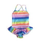 Cruz Sparkly Rainbow Stripe Ruffle Swimsuit