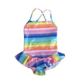 Cruz Sparkly Rainbow Stripe Ruffle Swimsuit